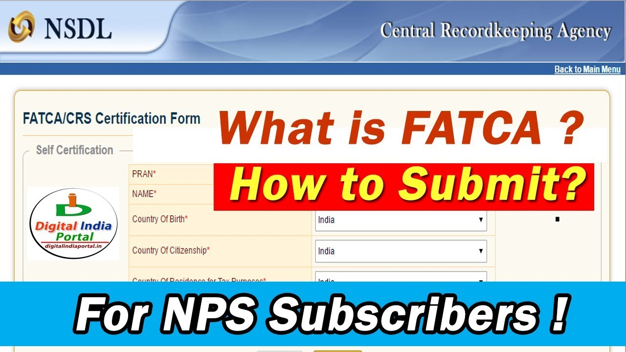 Fatca Self Certification For Nps How To Submit Online Youtube
