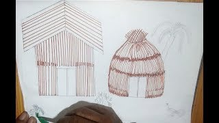 How to draw hut | Drawing for Kids | Learn coloring with hut drawing ,
