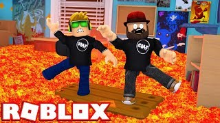 ROBLOX THE FLOOR IS LAVA IN LIBRARY!!!!