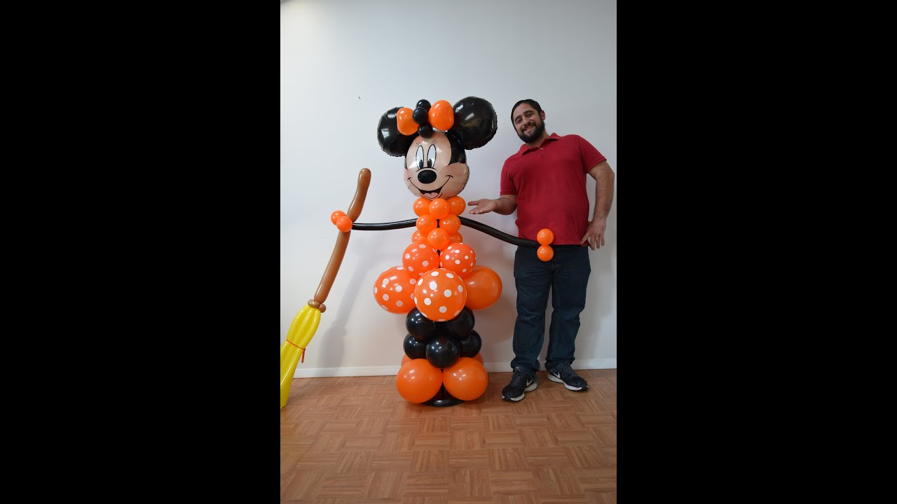 halloween minnie mouse balloon column tutorial diy minnie balloon decoration idea youtube