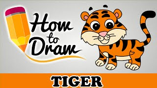 How To Draw A Tiger - Easy Step By Step Cartoon Art Drawing Lesson Tutorial For Kids & Beginners