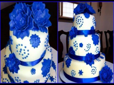 royal blue flower anniversay fondant cake youtube. Black Bedroom Furniture Sets. Home Design Ideas