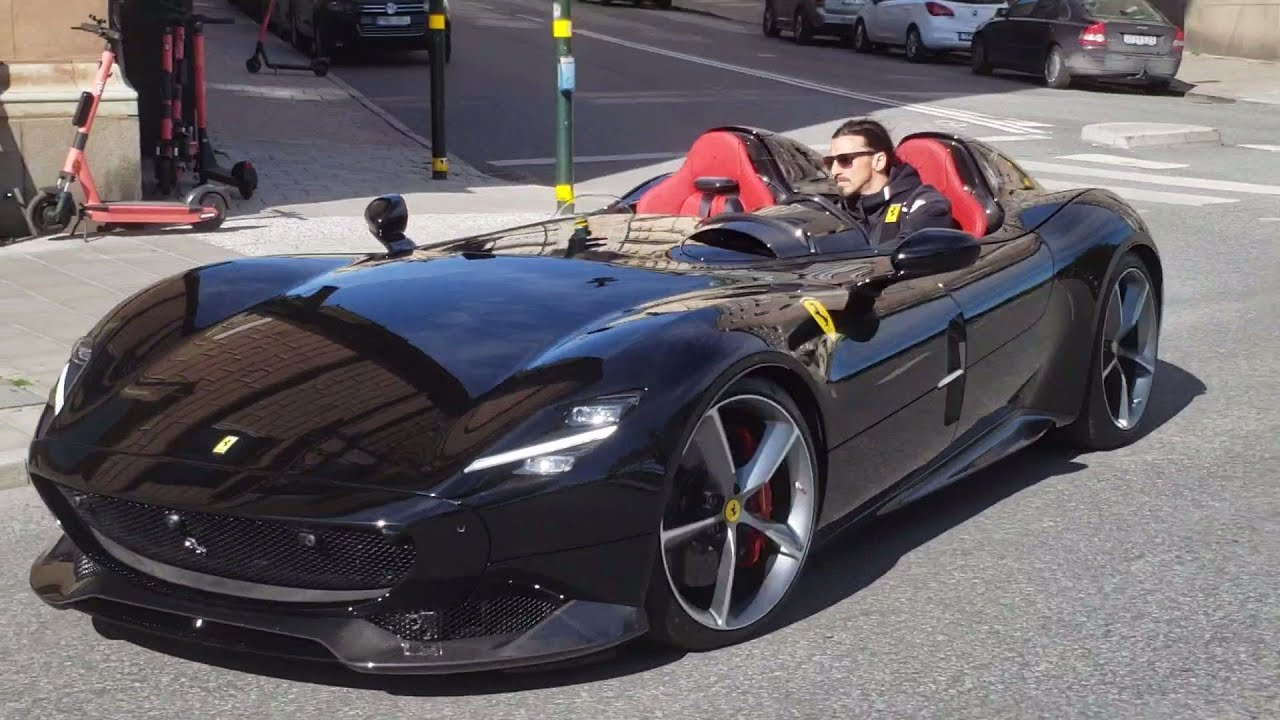 Zlatan Ibrahimovic driving his Ferrari Monza SP2 in Stockholm, Sweden - YouTube