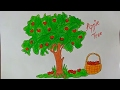 How To Draw An Apple Tree, How to draw a cartoon apple tree, How to Draw a Cartoon Tree,Kids drawing