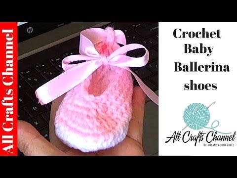 Crochet baby ballet slippers / zapatitos de ballet para bebe - Yolanda Soto Lopez