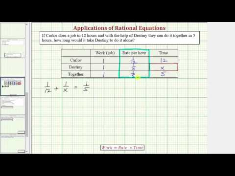 Ex: Rational Equation App - Find Individual Working Time Given Time Working Together