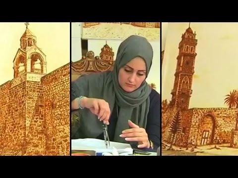 Palestinian artist brings henna art on canvas
