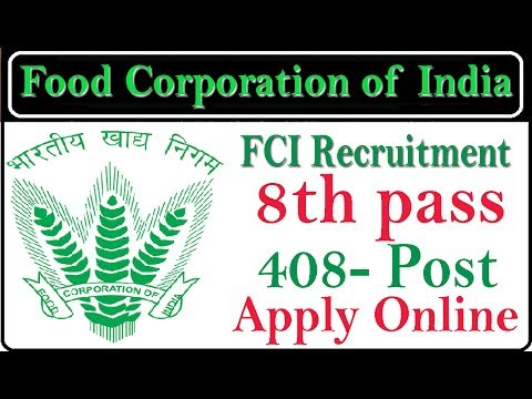 Latest Govt Job 8th Pass food Corporation of India | FCI| Apply Online for Recruitment