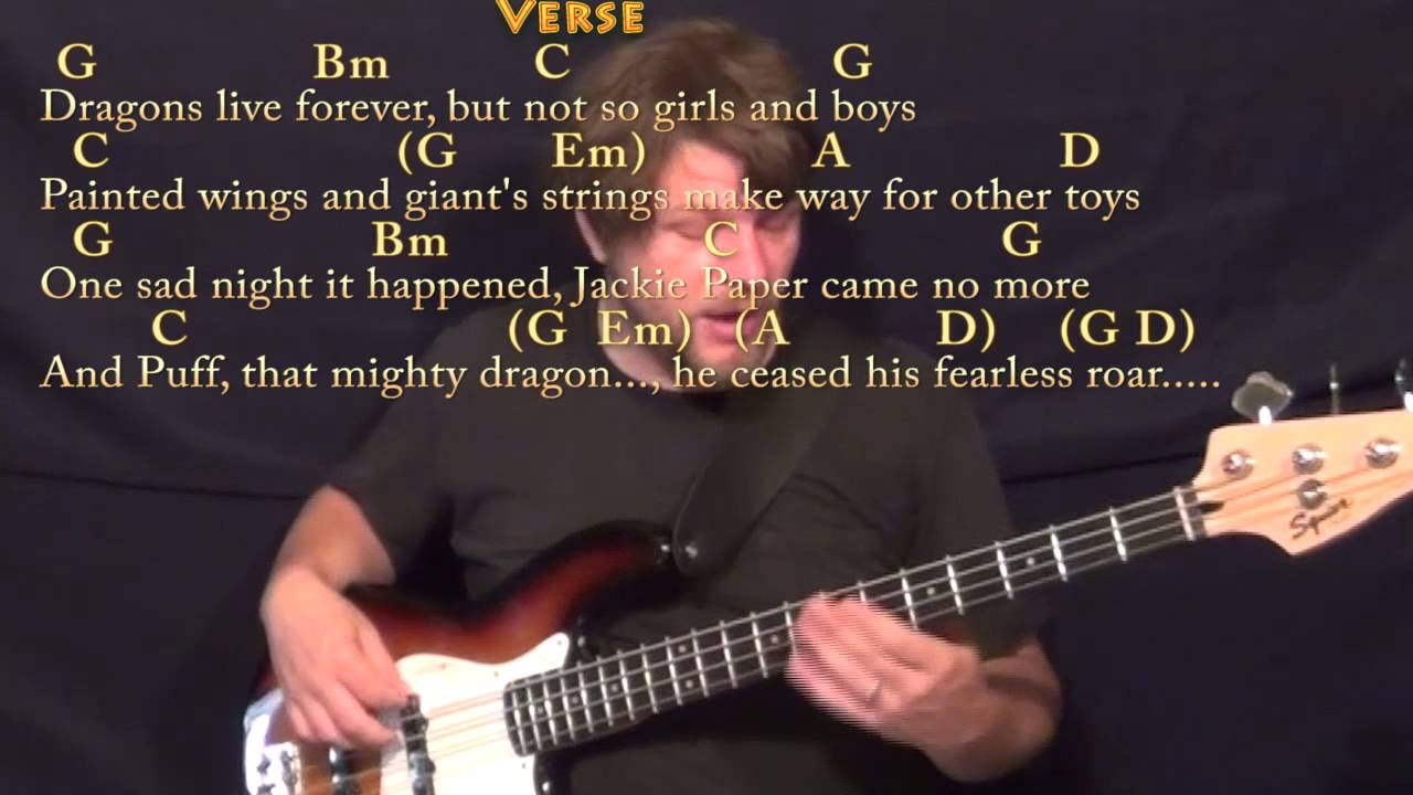 Puff The Magic Dragon Bass Guitar Cover Lesson In G With Chords