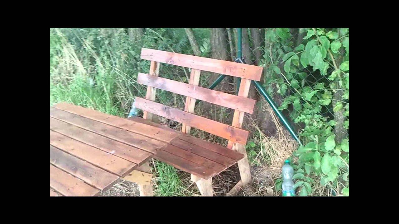 Meble Ogrodowe Z Palet Instrukcja : Meble ogrodowe z euro palet  stół i ławka zrobione własnoręcznie
