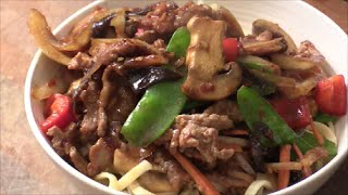 Asian Beef Stir Fry Top With Noodles