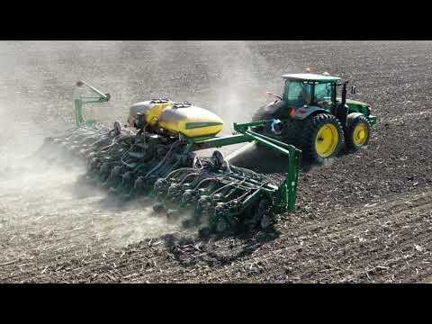 John Deere 8285R Planting Soybeans In Illinois