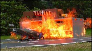 RC HORRIBLE PLANE CRASH! BIG FIRE! HEAVY RC CRASH ENDS AT BIG FIRE!