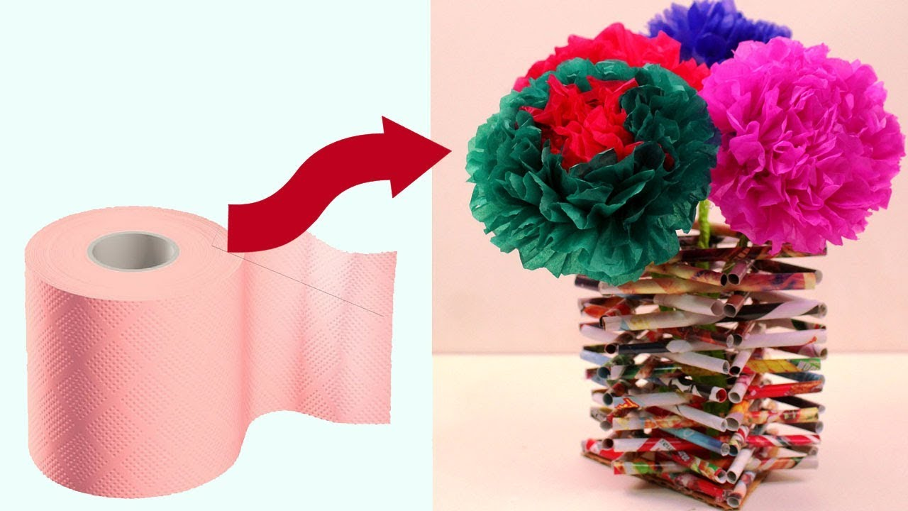 Diy Flower Vase Made With Recycled Materials Making Tissue Paper