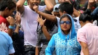 Thingyan (Myanmar water festival) celebration in Tamu, Myanmar