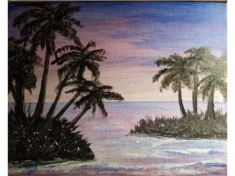 Palm trees beach scape acrylic painting
