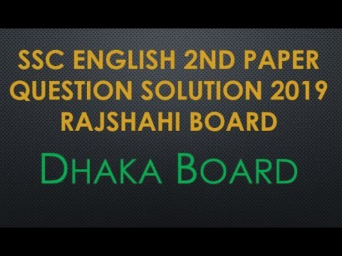 SSC English 2nd Paper Question Solution 2019 Dhaka Board