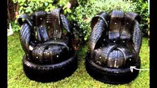 Забавная мебель своими руками из покрышек и шин для дачи(Что можно сделать из шин и покрышек своими руками? Да все, что угодно. Разные поделки из покрышек нынче делаю..., 2016-02-13T16:52:38.000Z)