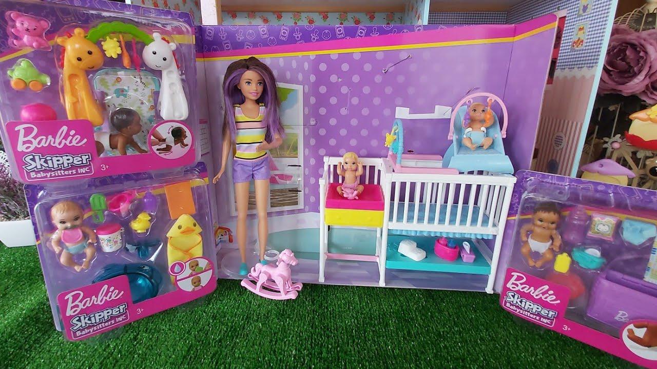 Kutu Açılımı Nursery Playset with Skipper Babysitters Doll | Barbie Bebek Bakıcısı Uyku Eğitiminde