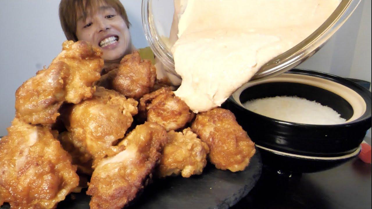 深夜に巨大揚げたて唐揚げを明太子マヨネーズ1kgぶっかけて食べたら頬がこぼれそうな程美味かった!