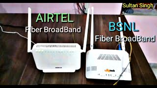BSNL Fibernet  vs AIRTEL Xstream Fiber Broadband Speed Test BSNL Fiber Broadband vs AIRTEL Broadband