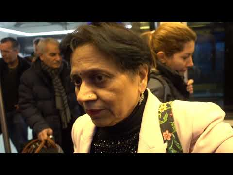 Aruna & Hari Sharma at Frankfurt Airport Train Station at 1C to go to Concourse 1A, Jan 25, 2018