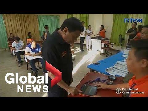 Philippine President Rodrigo Duterte votes in midterm elections