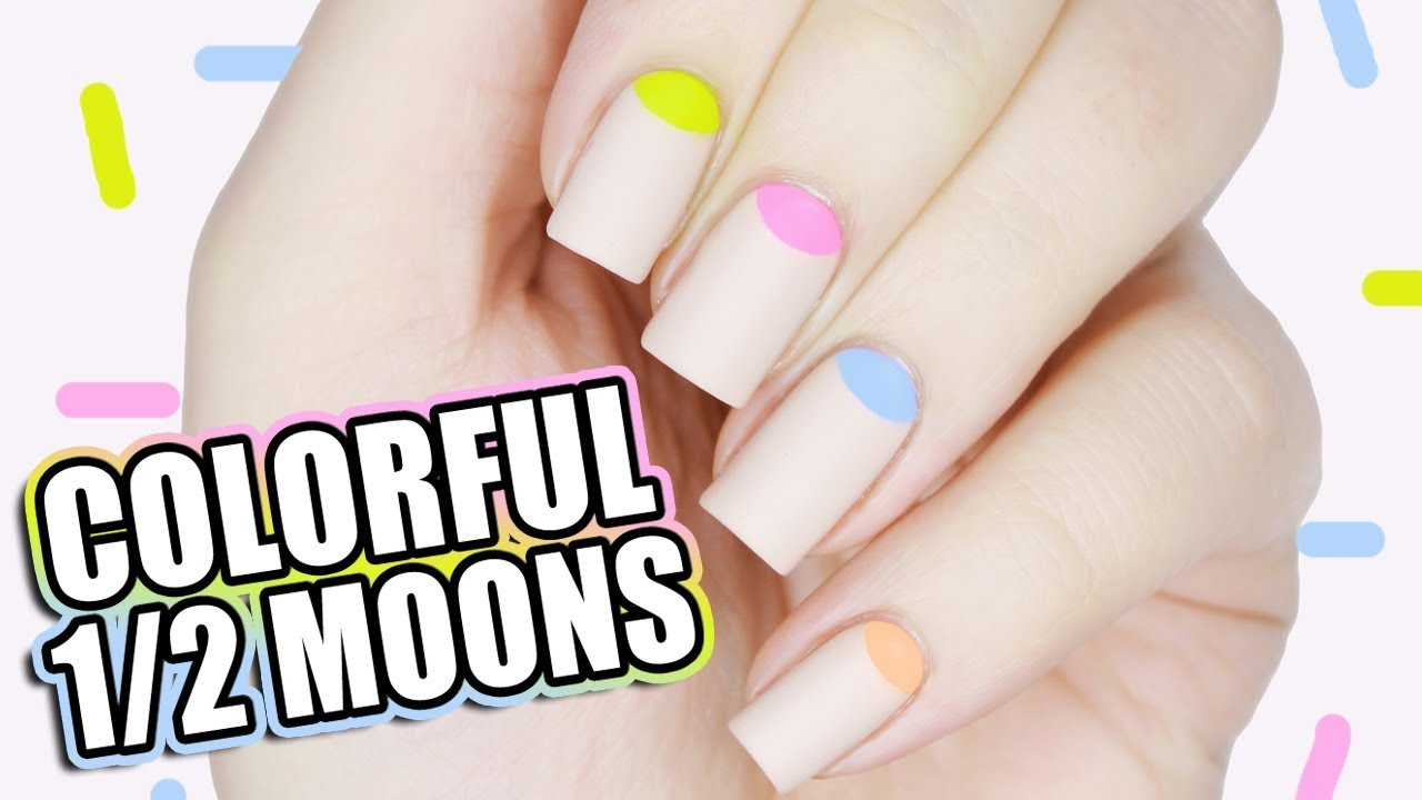 Easy Colorful Half Moon Manicure Spring Nail Art Tutorial Youtube