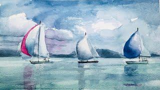 Sailboats on Balaton - Watercolor Painting - By Vamos