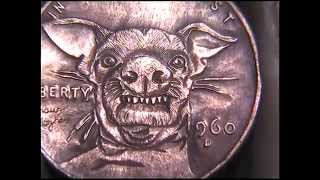 1961 Tuna The Dog Lincoln Cent Carved Coin By Shaun Hughes