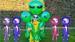 Öykü Pretend Play with Aliens Dolls Toy   Funny video for kids