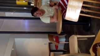 Anjirang Daegu South Korea. Café customer waiting for a cheap drink ₩2,000(US$2.00)