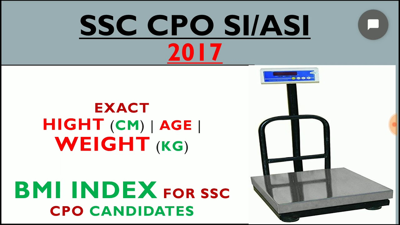 Ssc cpo 2017 weight height chart bmi index youtube ssc cpo 2017 weight height chart bmi index nvjuhfo Images