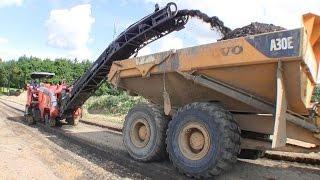 wirtgen w100 milling machine and volvo a30 dumper removing asphalt