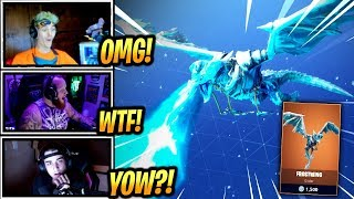 NINJA & STREAMERS REACT *NEW* DRAGON GLIDER FROSTWING! - Fortnite Epic & Funny Moments (Fortnite BR)