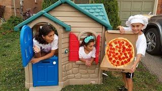 HEIDI e ZIDANE são COZINHEIROS por um dia e fazem PIZZA na cozinha de brinquedo 🍕 Pretend Play Pizza