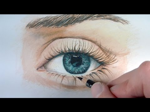 draw a realistic eye with colored pencils youtube