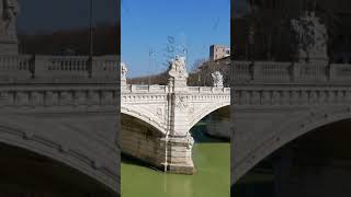 Vertical video. Bridge Vittorio Emanuele II.  Rome, Italy