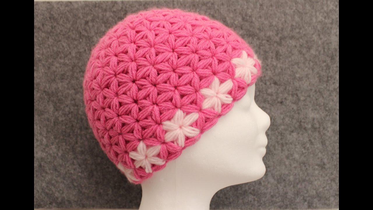 Triangle Star Stitch - Flower Hat Part 2 - Beanie - DIY Crochet Tutorial -  Puffed Star Stitch 8bfa695e5ce