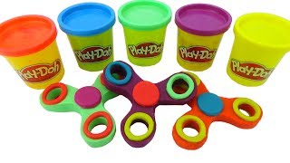 FIDGET SPINNER Learn Colors Play Doh Modelling Clay Animals Fruit Train for Kids