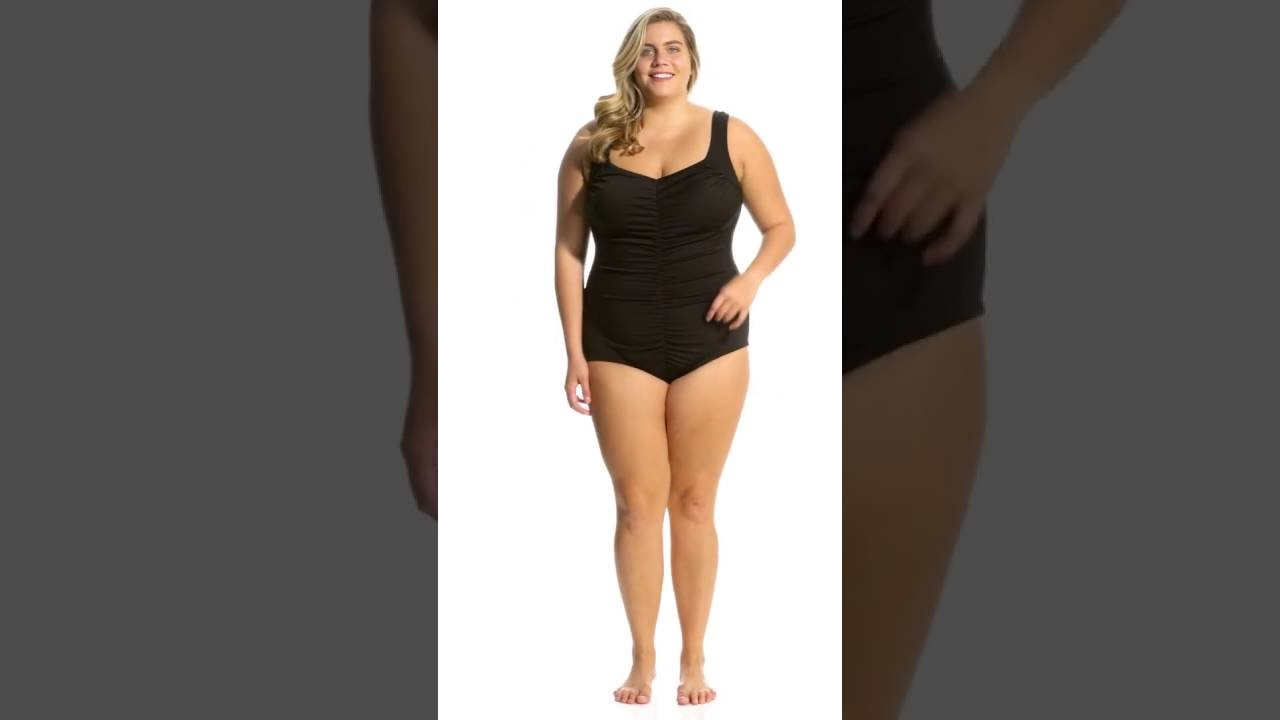 05706d4aab Maxine Plus Size Solids Spa Shirred Girl Leg One Piece Swimsuit ...