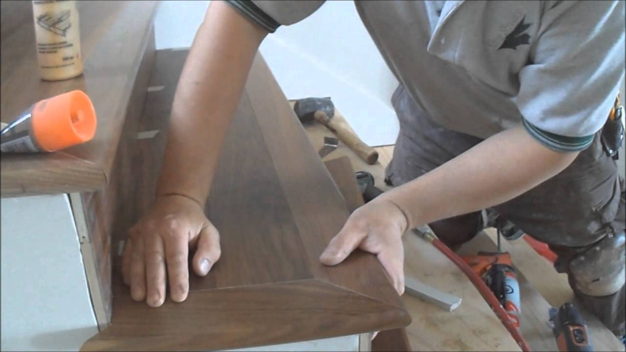 Hardwood Flooring On Stairs: Installing Open Sided Staircase Nosing Tread  And Riser From A To Z   YouTube