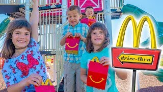 Kate and Lilly get McDonald's Happy Meals and Play at the Playground with Friends!