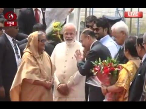 PM Modi receives Sheikh Hasina at Delhi airport