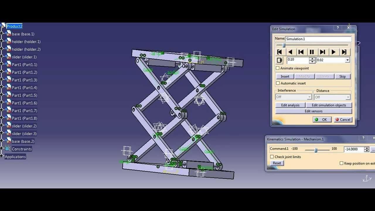 Simulation Of Scissor Mechanism In Catia V5 Youtube