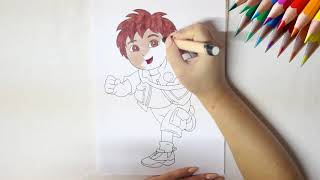 Coloring DIEGO Drawing from GO DIEGO GO - Fun Sketch with BOOM TOONS HD