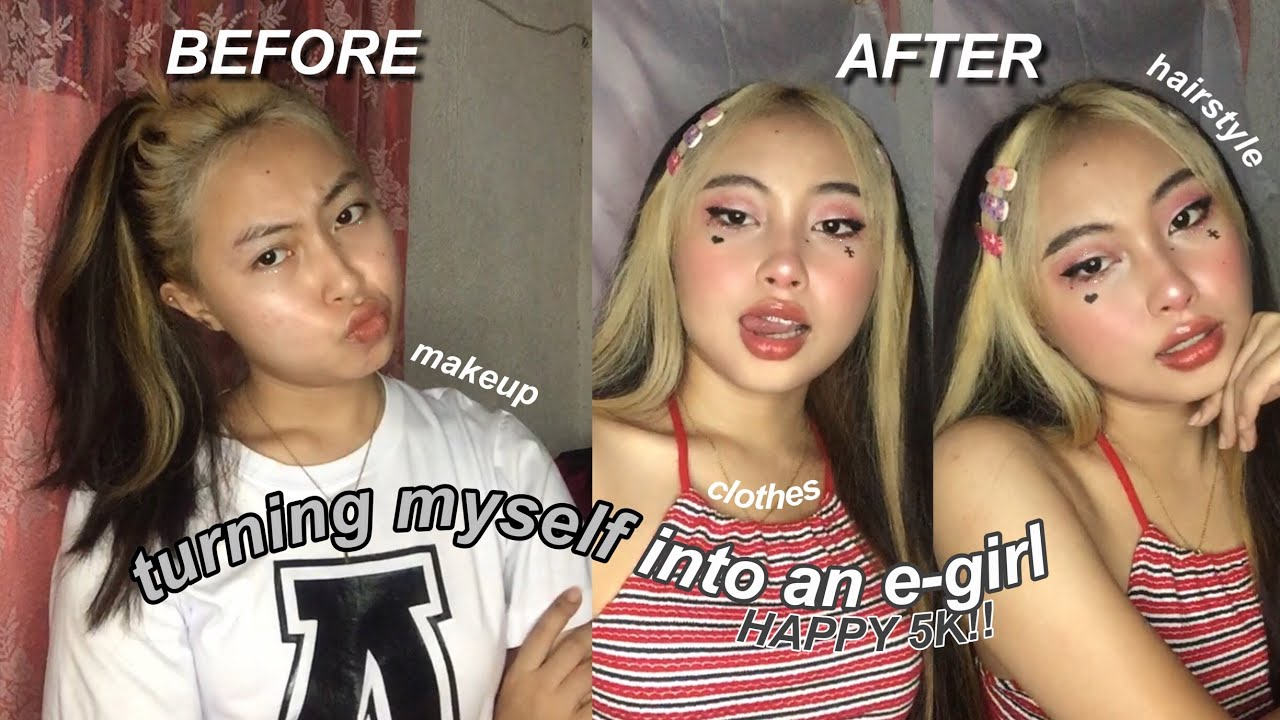 TURNING MYSELF INTO AN E-GIRL! (makeup, hair, clothes) | Philippines