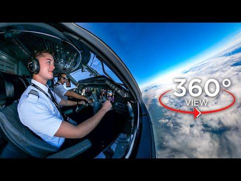 360° Airline Cockpit View, FULL Flight | Dallas - Miami | American Eagle E-145