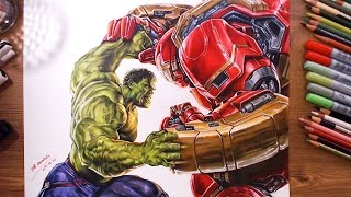Avengers : Hulk vs Hulkbuster(Veronica) - speed drawing   drawholic