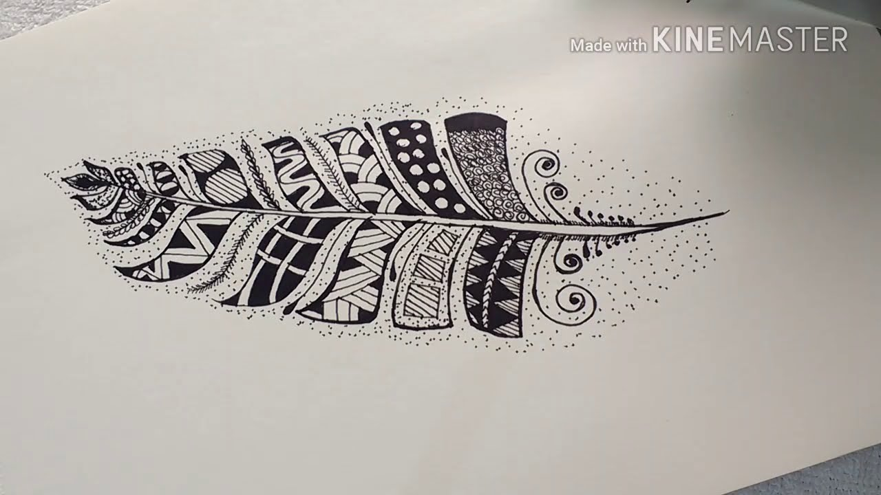 Zentangle Feather Drawing | Easy Zentangle Patterns For ...